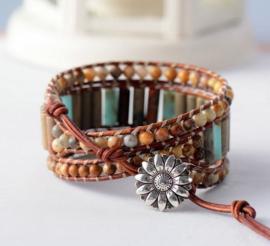 Handgemaakte Natural Stone Leather Wrap Bohemian Bracelet
