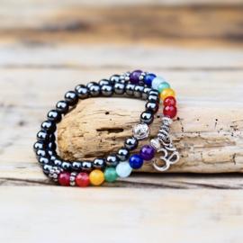 7 Chakra Hematiet mala Armband