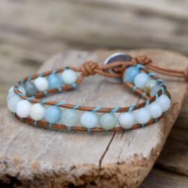 Amazonite Single Leather Wrap Bracelet