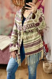 Fleece Vest Paars/Bruin