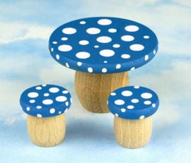 Droomtafeltje met krukjes Korenblauw
