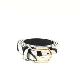 LEREN DAMES RIEM - ZEBRA SMALL - GOLD