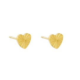 OORBELLEN - HEART RAYS - GOLD