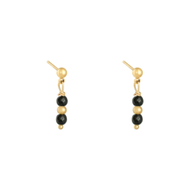 EARRING - IN A ROW BLACK - GOLD