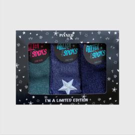 GIFTPACK SOCKS - GLITTER GREEN BLUE STAR