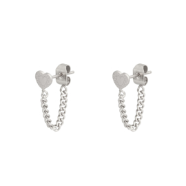EARRING - HEART AND CHAIN