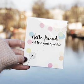 CONFETTI POSTCARD - HELLO FRIEND