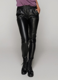 LEATHER LOOK BROEK - SAM - ZWART