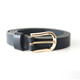 LEREN DAMES RIEM - BASIC BLACK - GOLD