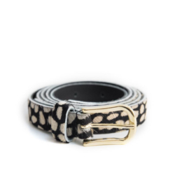 LEREN DAMES RIEM - STIP BLACK.WHITE - GOLD