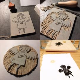 Linoprint Kerstengel