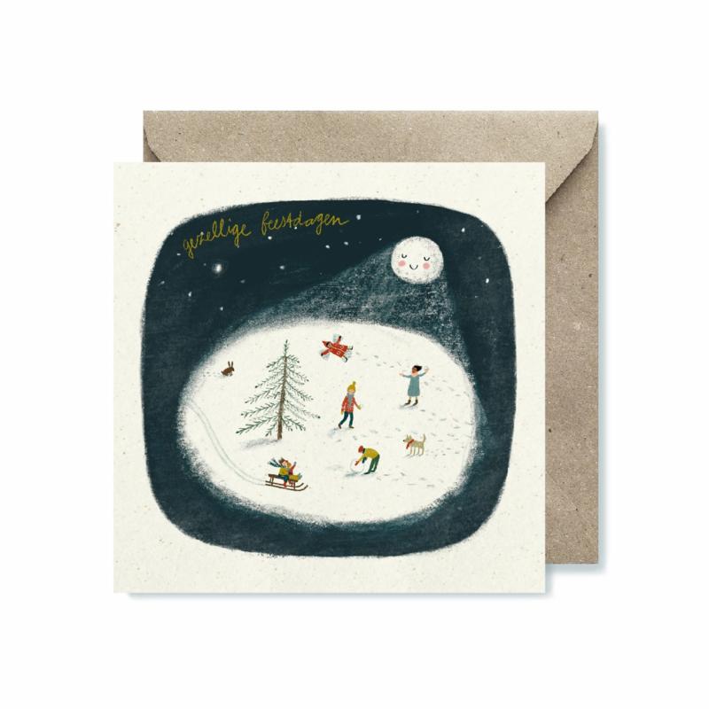 Dubbele Kerstkaart | Sneeuwpret