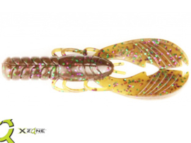 "X Zone Lures Muscle Back Craw 4"" Green Pumpkin Purple Green"