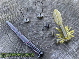 Venom Lures Mini D-K Rig 'n Heads 3/16 oz (plm 5,3 gr) Green Pumpkin 1/0