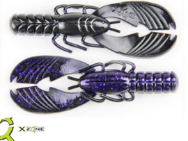 "X Zone Lures Muscle Back Craw 4"" Purple Shadow"