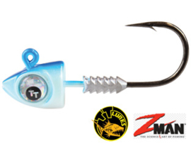 TT Lures Big Eyez Pearl/Blue Silver Eyez 1/4oz (7 gr) Haakmaat 3/0