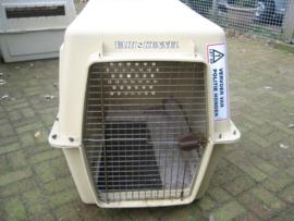 Ex. Politie Grote Beige Honden Bench gebruikt i.z.g.s.