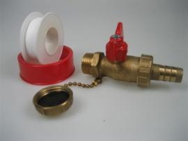 Vul-en aftapkogelkranen en koppeling met kap en ketting