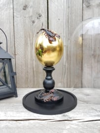Glass Dome with 24ct Gold plated Ostrich Egg Guarded by 2 Scorpions NoV4