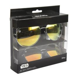 Star Wars zonnebril 2 stuks in cadeaudoos/ 1x model voor kind 1x model voor volwassenen