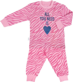Frogs en Dogs - Zebra print pyjama - blue heart