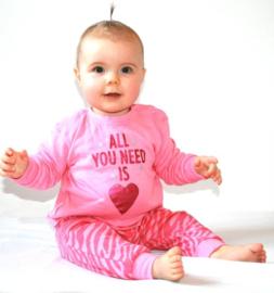 Frogs en Dogs - Zebra print - meisjes -  pyjama - pink heart
