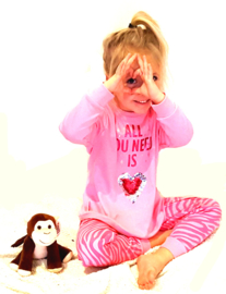 Frogs en Dogs - All You Need pyjama - roze -zebra - pailletten hart