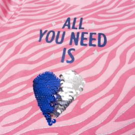 Frogs en Dogs - All You Need pyjama - roze/fuchsia - zebra - pailletten hart