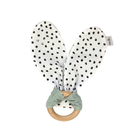 Teething ring | Monochrome dots & dusty mint