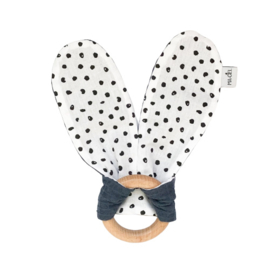 Teething ring | Monochrome dots & denim blue