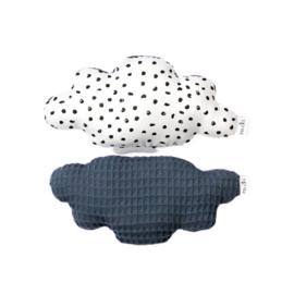 Rattle toy | Cloud | Monochrome dots & denim blue