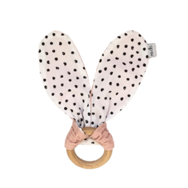 Teething ring | Monochrome dots & dusty rose