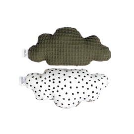 Rattle toy | Cloud | Monochrome dots & army green
