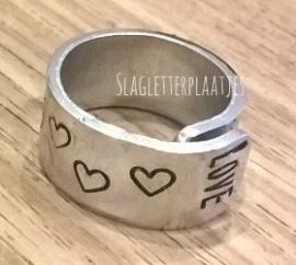 Ringstrip aluminium 10mm breed voor ring met overlap   1,5mm dik
