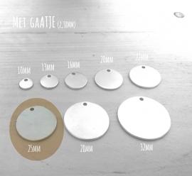 Aluminium 1,5mm dik - Rond 25mm (10 stuks)