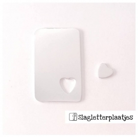 Set dog tag 50x30mm hart - Set incl. los hartje 10mm