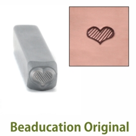 Flat Lined Heart, 4,5x3,5mm  (Beaducation)