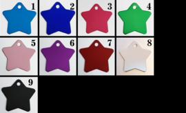 Gekleurd aluminium ster - met eigen tekst (10stuks)