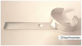 Armbandstrips 20mm breed - hart uit midden - 2mm dik