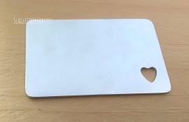 Bankpas formaat aluminium - hart 10mm hoek onder