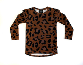 Ruffle Tee | Leopard Brown