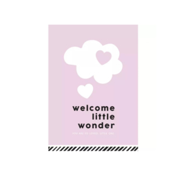 Wenskaart Welcome little wonder roze