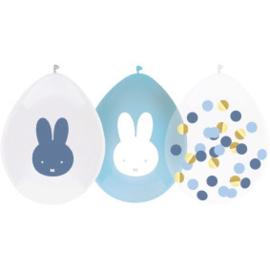 Nijntje ballonnen blauw en confetti