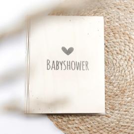 Houten babyshowerboek met invulpagina