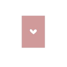 Wenskaart hartje roze (blanco)