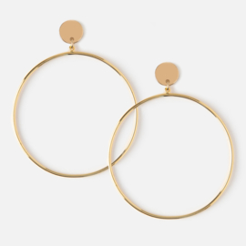 DISC &HOOP DROP EARRING GOLD - ORELIA