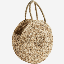 ROUND STRAW BAG W/ HANDLES