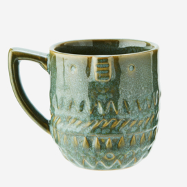 STONEWARE MUG WITH FACE PRINT
