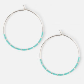 HEXAGON HOOP EARRING BLUE SILVER - ORELIA