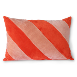 STRIPED VELVET CUSHION RED/ PINK